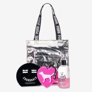 Victoria's Secret PINK Silver Tote & Beauty Bundle